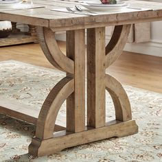 SIGNAL HILLS Paloma Salvaged Reclaimed Trestle Table Table Top Thickness:  1.5 Inches Table Top Overhang