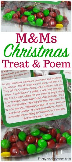 M&M Christmas Poem - Perfect Kids' Christmas Party Treat Idea - Includes Free Printable to make this fun kids' Christmas party treat Christmas craft Student Christmas Gifts, Christmas Treats For Gifts, School Christmas Party, Christmas Treat Bags, Christmas Party Ideas For Teens, Christmas Program, Christmas Party Favors, Preschool Christmas, Christmas Cookies
