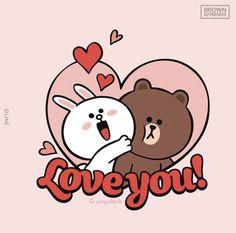 Cute Love Cartoons, Cute Cartoon, Line Cony, Peace And Love, Love You, Cute Hug, Cony Brown, Valentines Illustration, Cute Bear Drawings
