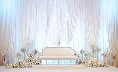 Like how clean and bright it looks. I like the decor on the stage as well Reception Stage Decor, Wedding Backdrop Design, Wedding Stage Design, Wedding Reception Backdrop, Wedding Mandap, Diy Wedding Wreath, White Wedding Decorations, Backdrop Decorations, Altar