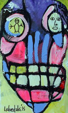 Original LABEDZKI  abstract figurative outsider art UNLEASH YOUR SOUL 5x8 inch #OutsiderArt