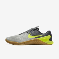 a4d51cba696 Shop Men s Nike MetCon 3 Grey Volt shoe now on sale. Shop Box Basics    crush your crossfit workouts in the new Nike Metcon 3 + Free   Fast  Shipping!
