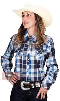 4adf603c7b Camisa Feminina Bordada Xadrez Country Camisa Feminina