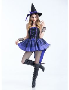 7e106b8e27e MOONIGHT Sexy Adult Witch Costume Halloween Witch Dress For Women Halloween  Christmas Costume Long Purple Swallowtail Dress
