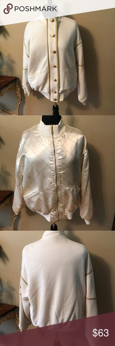 "St. John Vintage Rare Reversible Jacket Size SM/M St. John Vintage Rare Reversible Jacket Size SM/M. No rips or stains! Vintage at it's finest! 0ne side is super soft satin. Reverse it to a Brand new look of Rich Cream Fabric with Gold buttons. Measurements appropriately 23"" armpit to armpit, 23 1/8"" Length. 🚫trades. Please ask all questions prior to buying. St. John Jackets & Coats"