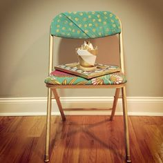 My take on folding chair makeover :) only need one colorful cushion and old chair.