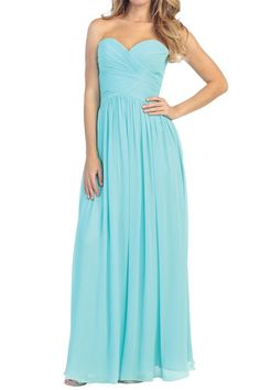Strapless formal in Aqua.  Available in XS-3XL.  Perfect for prom or bridesmaids!