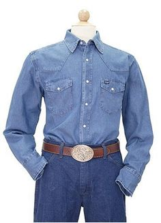 Wrangler Men's Cowboy Cut Work Western Long Sleeve Shirt, Blue Stonewashed $29.97 - $34.97