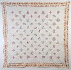 "LeMoyne Stars Quilt with Trapunto: Ca. 1830; Pa., chintz border, 85"" square, Stella Rubins Antiques"