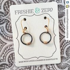 Here's a great shot of our Antique Stitch earrings by our #Tennessee retailer @seasonsthemuseumstore ・・・ #repost That's right! We carry Freshie & Zero at Seasons: The Museum Store!  #freshieandzero #madeintennessee