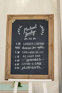 vintage wedding day timeline sign ideas wedding signs Creative Wedding Timeline Sign Ideas to Get Inspired - EmmaLovesWeddings Wedding Reception Program, Wedding Signage, Wedding Programs, Wedding Invitations, Wedding Chalkboards, Wedding Entrance, Wedding Venues, Chalkboard Signs For Wedding, Wedding Chalk Board Signs