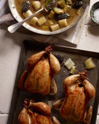 Thanksgiving Turkey Alternatives - Roasted Cornish Hens with Morels and Leeks Recipe from Food & Wine