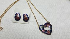 Avon Romantic Cloisonne Necklace and pierced earrings 1989 Enamel Flowers #avonjewellery #lucylucylemoncoupons