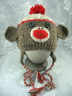 Adult Custom Size Sock Monkey Ear Flap Hat Custom made in any size you need. You can even choose your color combination. You are the designer so anything goes. Just give me the head measurement, color