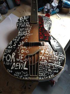 "Jonny Hannah hand-decorated guitar for the ""Strange Folk"" exhibition (via The Darktown Courier blog)"