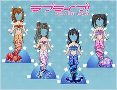 Love Live! Paper Dolls - Mermaid set 1 by EternallyOptimistic.deviantart.com on @DeviantArt