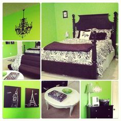 Green, black and white teen bedroom makeover, on a budget!