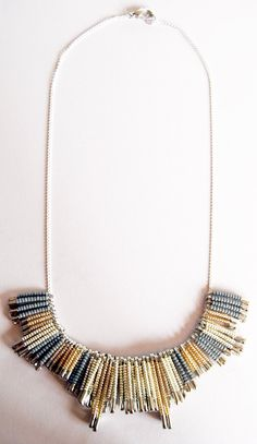 original pink grey tribal necklace