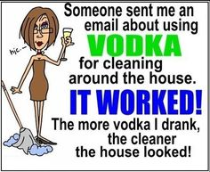 Cleaning with Vodka funny quotes alcohol quote lol funny quote funny quotes humor cleaning