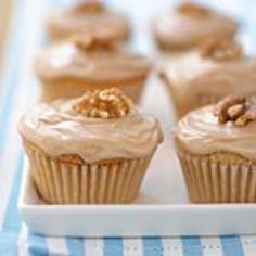 Double-Maple Cupcakes From Cooking Light  These pint-size desserts feature the best of Maple syrup, which is found in both the cupcake and the frosting. The frosting gets an extra dose of maple goodness thanks to the addition of maple flavoring. Top these cuties with a walnut or, for a sweet-and-salty twist, crumbled bacon.  Yield: 1 dozen (serving size: 1 cupcake)  Ingredients: Cupcakes: 1/2 cup granulated sugar 5 tablespoons butter or stick margarine, softened 1 teaspoon vanilla extract 1/2...