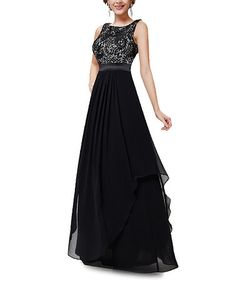 Loving this Black Floral Embroidery Gown - Plus Too on #zulily! #zulilyfinds