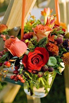 Floral Arrangements In Mason Jars