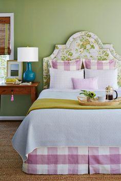 Floral Upholstered Headboard Green Bedroom Walls Gingham Euro Shams Bedskirt