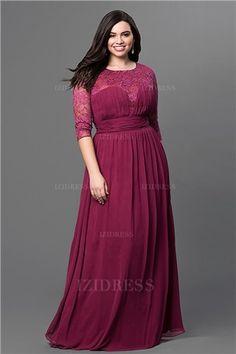 A-Linie/Princess-Linie Juwel-Ausschnitt Bodenlang Chiffon Abendkleider