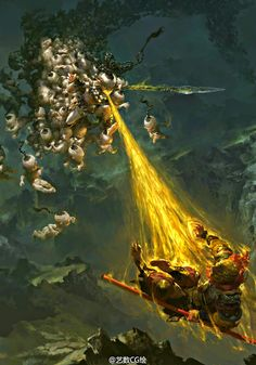 "crossconnectmag: "" Fiery Monkey King Art by Fenghua Zhong To celebrate this year of the fire monkey, I'm sharing the intensely detailed digital paintings of Fenghua Zhong (钟风华). Monkey Art, Monkey King, Fantasy Warrior, Fantasy Art, Beast Creature, Conceptual Drawing, Journey To The West, King Art, Fantasy Landscape"