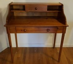 """Hand crafted furniture incl secretary desk and single drawer table. Maple two drawer desk is 36 3/8""""Wx19.75""""Dx40""""H."""