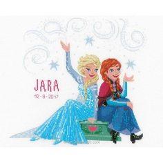 bc08f71bc108e Reine des neiges disney - frozen soeurs tableau prénom bébé à broder -  Vervaco
