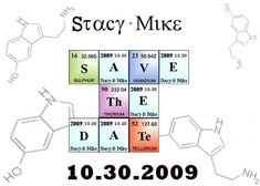 Love science? Then you'll love this periodic table of save the date with molecular diagrams in the background. My favorite part is that Offbeat Bride reader Stacy Rebek kept the real elements whenever possible.