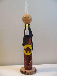 Buffalo Totem , Buffalo Medicine , Buffalo Kachina , Gourd Doll , Animal Totem , Healing Arts , Hand Painted Gourd , Buffalo Tooth , Art by SpeaksWithAncestors, $45.00 USD