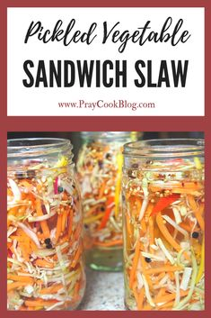colors look amazingly delicious. and I'll let you in on a little-known secret - this pickled vegetable sandwich slaw IS delicious! TRY IT TODAY! Pickled Vegetables Recipe, Raw Vegetables, Pickling Vegetables, How To Pickle Vegetables, Pickling Cucumbers, Fermentation Recipes, Canning Recipes, Canning Tips, Canning Labels