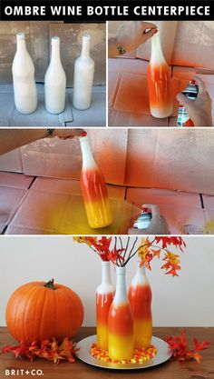 Could do any colors not just halloween! DIY Basics: Halloween Ombre Wine Bottle Centerpiece-- must try any colors. Holidays Halloween, Halloween Crafts, Holiday Crafts, Holiday Fun, Happy Halloween, Halloween Candy, Halloween Ideas, Halloween Vase, Halloween Bottles