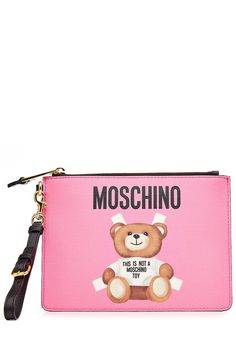 New Moschino Printed Leather Zip Clutch fashion online. [$269]>> offer from shophandbags<<