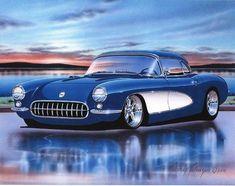 1957 Chevy Corvette Hot Rod Car Art Print w/ Color Options Maserati, Bugatti, Ferrari, Audi, Aston Martin, Bmw Classic Cars, Mustang Cars, Custom Trucks, Chevrolet Corvette