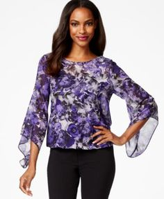 Alfani Petite Printed Embellished Flare-Sleeve Top, Only at Macy's