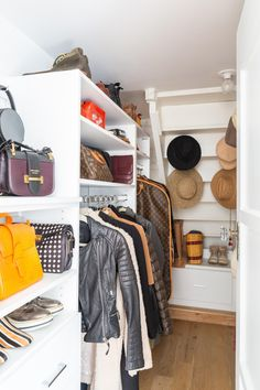 Upgrade your small walk-in closet with a storage solution from California Closets! Spare Room Closet, Diy Walk In Closet, Closet Nook, Master Closet, Master Bedroom, Small Space Storage, Storage Spaces, No Closet Solutions, California Closets