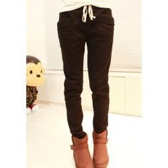 Casual Style Heavy Weight Waist Drawstring Cotton Fleece Pants For Women