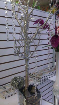 Arbol artificial cobertura silver con diamantina