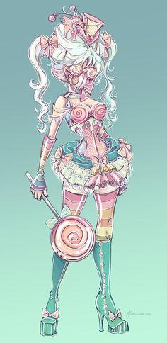Candy Steampunk Sketch by ~NoFlutter on deviantART... could be a good idea for a villian? :D
