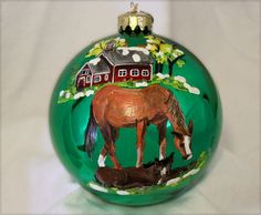 HAND-PAINTED ORNAMENT  Horse and Foal Item by reneesprettypainted