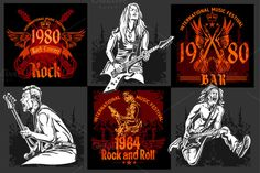 Check out Rock vintage labels and illustratins by Digital-Clipart on Creative Market