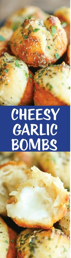 Cheesy Garlic Bombs - Mini garlic bread bites slathered in buttery goodness and stuffed with melted mozzarella cheesiness. So good and irresistible! Appetizer Recipes, Dinner Recipes, Bread Appetizers, Lunch Recipes, Pan Relleno, Food Porn, Good Food, Yummy Food, Garlic Bread