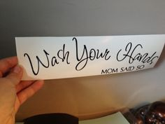 "Home Decor Vinyl ""Bathroom Wash Your Hands"" #bathroomdecor #homedecor #vinyldecor #décor #wallart #decalart #decal Custom Gifts, Customized Gifts, Vinyl Paper, Decoration, Paper Crafting, Birthday Gifts, Craft Projects, Holiday, Crafts"