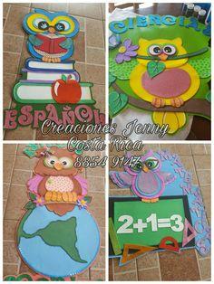 Búhos escolares  #CreacionesJennyCR Classroom Charts, Owl Always Love You, Handicraft, Kids Rugs, Cold, T Shirts For Women, Education, School, Crafts