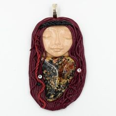 The Warrior Queen Polymer Clay Pendant with Leopard Skin Jasper