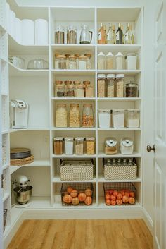 Laundry Room to Walk-in Pantry Reveal In case you missed the first pantry plan post, here is a quick re-cap! When we first moved into this home we knew we would have to figure out alternative pantry space. Our tiny pantry for a family wasn't quite doing t Kitchen Pantry Design, Kitchen Organization Pantry, Home Organization Hacks, New Kitchen, Kitchen Storage, Kitchen Decor, Organized Pantry, Food Storage, Big Family Organization