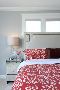 Love the bold pattern in this otherwise subdued master bedroom from one of our in Vancouver Serene Bedroom, Master Bedroom, Vancouver, Custom Built Homes, Bedrooms, Dark, Modern, Pattern, Furniture